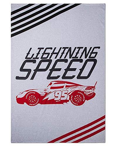 (Disney Cars Lightning McQueen Lightning Speed White & Gray Bed Blanket (Twin))