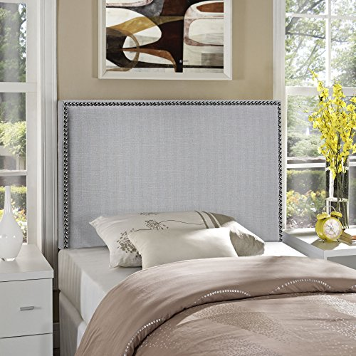 (Modway Region Linen Fabric Upholstered Twin Headboard in Gray with Nailhead Trim)