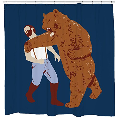 Cool Shower Curtain - Bear Punching Man - Funny Bathroom Decor - Bachelor Pad - Waterproof - Fits Bathtub- Hooks Included - 72 x 72 (Best Bachelor Pad Accessories)