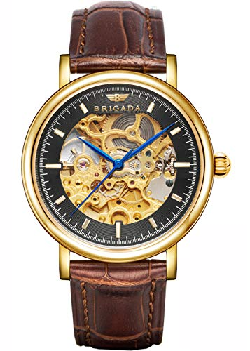 BRIGADA Swiss Brand Nice Classic Luxury Gold Black Hollow Mechanical Automatic Men's Watch Brown Leather Band (Best Swiss Made Watches Under 300)