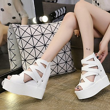 PU Women's Casual Creepers White EU36 Zipper Summer CN36 UK4 Silver US6 Sandals Black wqwFHnp