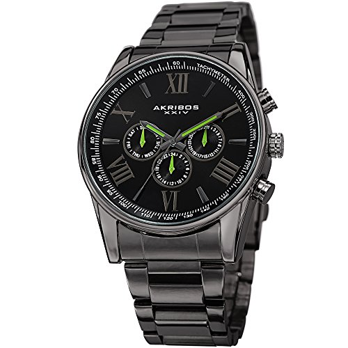 (Akribos XXIV Men's AK736 Ultimate Swiss Quartz Multi-Function Stainless Steel Bracelet Watch (Gun Metal Lime Green))