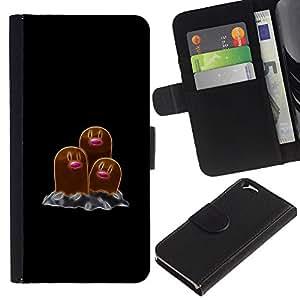 // PHONE CASE GIFT // Moda Estuche Funda de Cuero Billetera Tarjeta de crédito dinero bolsa Cubierta de proteccion Caso Apple Iphone 6 / Poke Monster Brown /