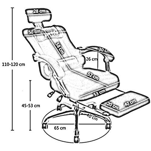 ZXL Ekonomisk och bekväm kontorsstol, lutningsfunktion datorstol, teleskopisk fotstöd justering nackstöd stol hållbar stark