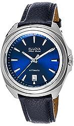 Bulova Accu Swiss 63B185 Mens Accu Swiss Blue Leather Strap Watch