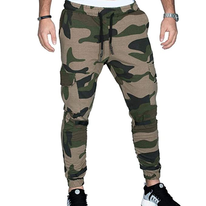 discount good texture elegant in style Hattfart Camouflage Jogger Pants for Men Casual Cotton Military Army Cargo  Sweatpants Active Elastic Pants