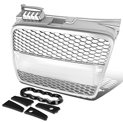 For Audi A4/A4 Quattro ABS Plastic RS-Style Honey Comb Mesh Front Grille (Silver) - B7 Typ 8E/8H