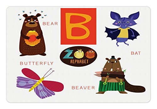 Lunarable ABC Kids Pet Mat for Food and Water, Letter B with Bat Butterfly Bear and Beaver Learn to Read Going to School Theme, Rectangle Non-Slip Rubber Mat for Dogs and Cats, Multicolor
