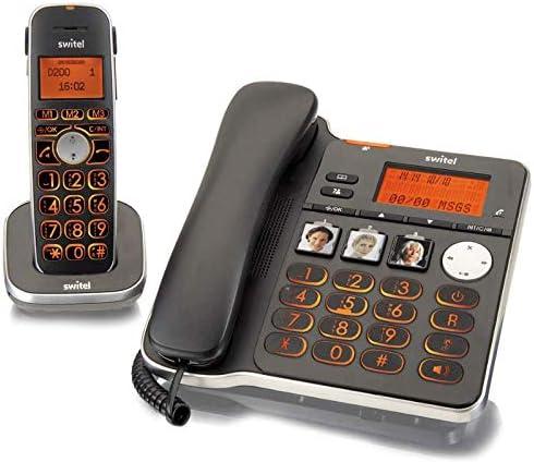 Kit Teléfono fijo + inalámbrico para mayores con contestador teclas XL grandes ampio pantalla Volume AMPLIFICATO 30 dB Suoneria amplificada 80 dB volumen alto compatible aparatos audífono hac personas sordas manos libres