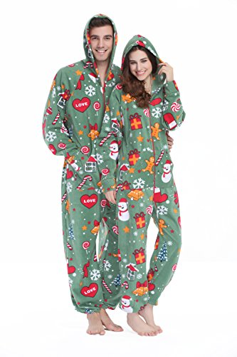 XMASCOMING Women's & Men's Hooded Fleece Onesie Pajamas Merry Xmas Size US -