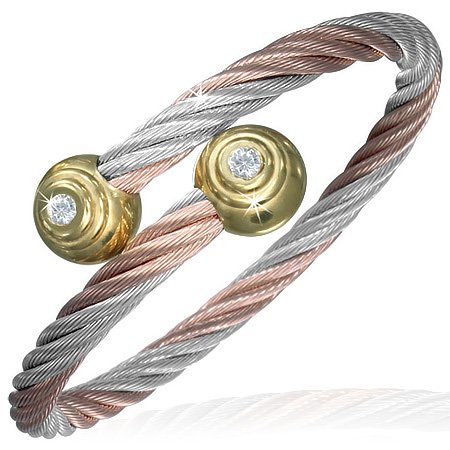 Stainless Steel Rose Gold Silver-Tone Twisted Cable CZ Womens Bangle
