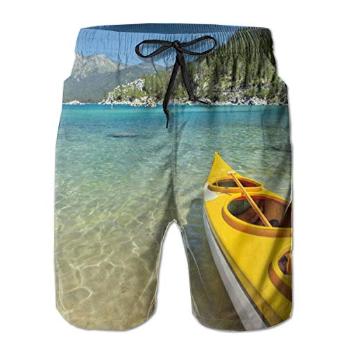 Men Swim Trunks Beach Shorts,Extreme Sports in Wild Lakeside Places Scenic Activities XXL (Sofa Shops Lakeside)
