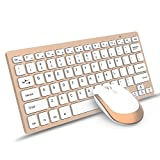 Wireless Keyboard Mouse, Jelly Comb 2.4GHz Ultra Slim Compact Portable Wireless Keyboard and Mouse Combo Set for PC, Desktop, Computer, Notebook, Laptop, Windows XP / Vista / 7 / 8 / 10 - Gold