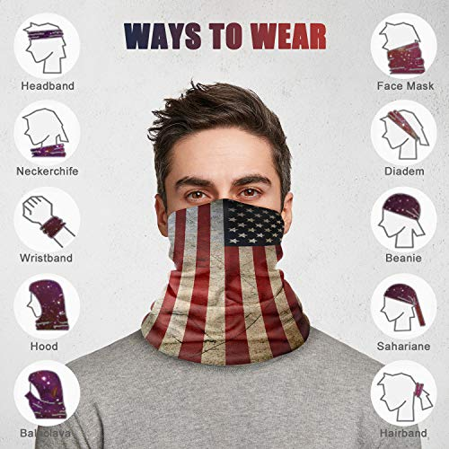 n a Seamless Face Cover Bandana Neck Gaiter Scarf Face Protection Magic Scarf Headwear for Outdoors, Festivals, Sports (Flag-1)