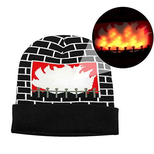 Luwint LED Burning Fireplace Beanie hat Funny Fire Flashing Glow Christmas Costume Knit Cap with 2 More Batteries (Black) ()