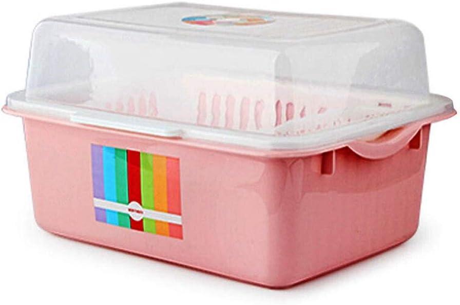 Yuanjiashop Escurreplatos Secaplatos Caja de Almacenamiento de Polvo para la Cocina Porta Cubiertos (Color : Pink, tamaño : 43 * 33CM): Amazon.es: Hogar