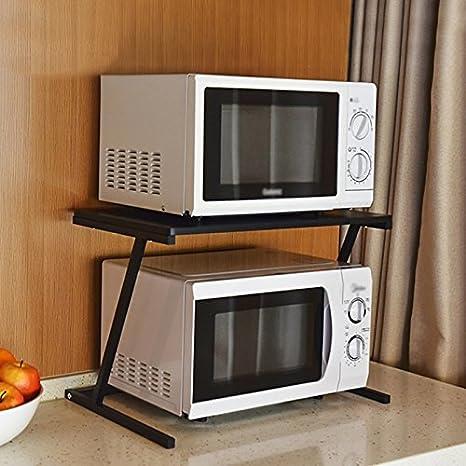 Horno De Microondas Rack Cocina Horno De Almacenamiento Doble Rack De Almacenamiento Piano Paint (color : NEGRO): Amazon.es: Hogar