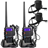 Retevis RT-5R 2 Way Radio 5W 128CH UHF/VHF 136-174/400-520 MHz Walkie Talkie (2 Pack) and Speaker Mic (2 Pack)