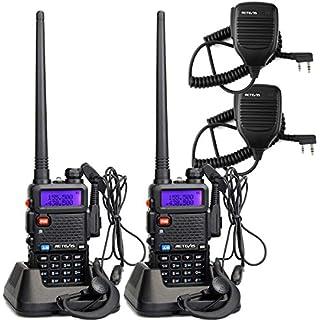 Sale Off Retevis RT-5R 2 Way Radio 5W 128CH UHF/VHF Walkie Talkie (2 Pack) and Speaker Mic (2 Pack)