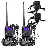 Retevis RT-5R 2 Way Radio 5W 128CH UHF/VHF 136-174/400-520 MHz Walkie Talkie (2 Pack) and Speaker Mic (2 Pack)