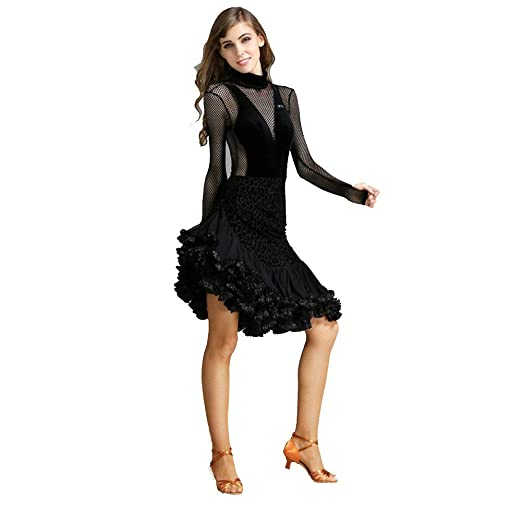 JINPENGRAN Falda de Baile Latino Conjunto de Terciopelo Puro ...