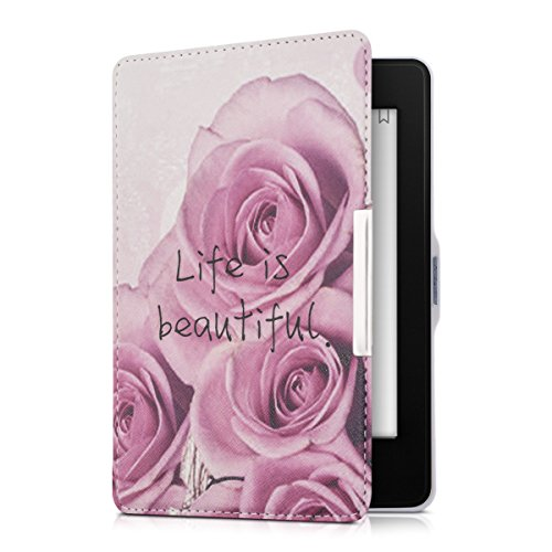 kwmobile Elegant synthetic leather case for the > Amazon Kindle Paperwhite (2012/2013/2014/2015) < Design Life is beautiful in dark pink light pink violet (Violet Design)
