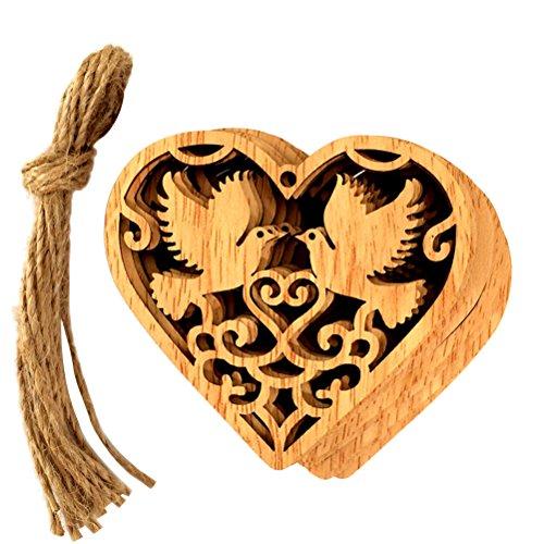 Vosarea 10 PCS Handmade Wedding Wooden Heart