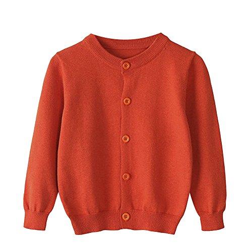TAIYCYXGAN Baby Girls Boys Knit Cardigan Sweater Kids School Uniform Button Sweater Jacket Long Sleeves Clothes Orange 130