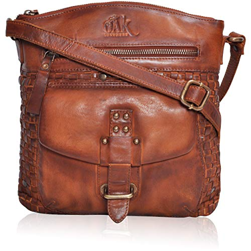 (Leather Crossbody women purse - Small Premium Crossover Cross Body Bag Over the Shoulder Luxury Premium crossbody (Tan Washed))