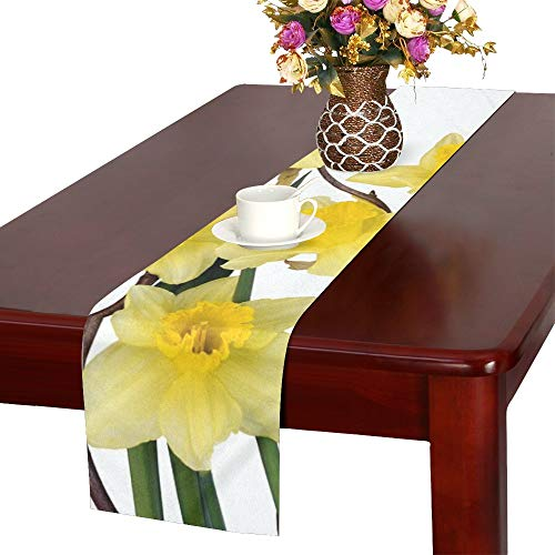 Daffodils Flowers Yellow Spring Close Up Plant Table Runner, Kitchen Dining Table Runner 16 X 72 Inch For Dinner Parties, Events, Decor ()