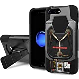 """iPhone [7 Plus] Phone Case [NakedShield] [Black/Black] Shock Proof Armor Case [KickStand] [Screen Protector] - [Flux Capacitor] for iPhone [7 Plus] [5.5"""" Screen]"""