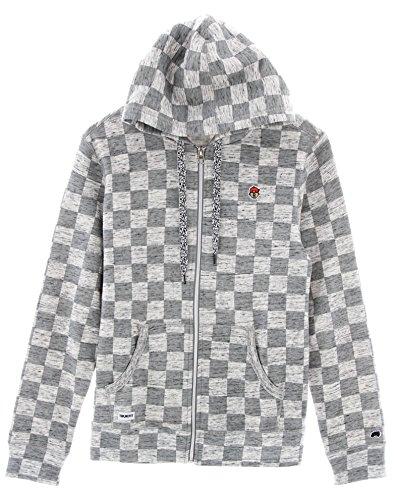 Trukfit Men's Checker Fleece Zip Up Hoodie Sweatshirt-Gunmetal Heather-S (Lil Wayne Trukfit Hoodie)