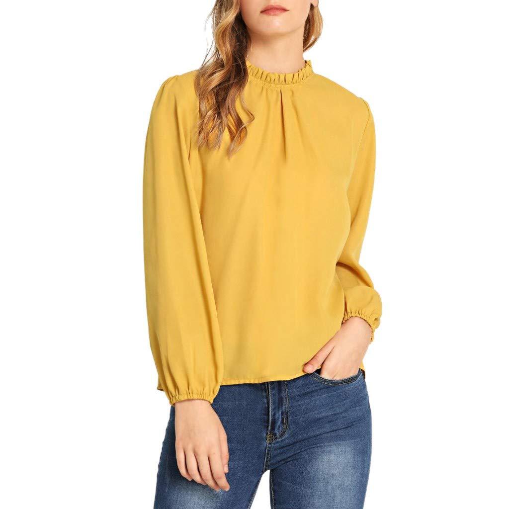 Lenfesh Mode Femmes Couleur Unie Plissé Col Rond Manches Longues Loisirs T-Shirt Blouse