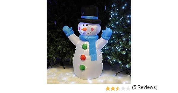 Kingfisher - Muñeco de Nieve de Navidad Hinchable de Navidad, con Luces LED, Adorno para el jardín, Altura 121,9 cm