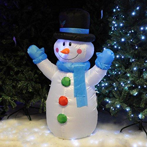 Kingfisher - Muñeco de Nieve de Navidad Hinchable de Navidad, con Luces LED, Adorno para el jardín, Altura 121,9 cm BLOWSM