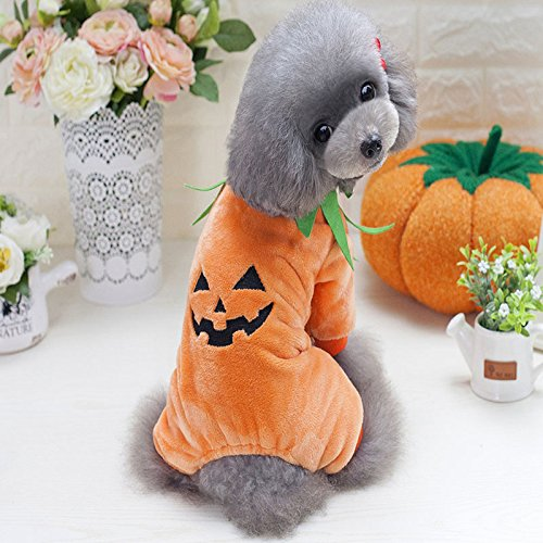 Idepet Pet Clothes Halloween Pumpkin Costume Fleece Coat Jackets Clothing for Dog Cats Puppy Chihuahua Dressing up Party…