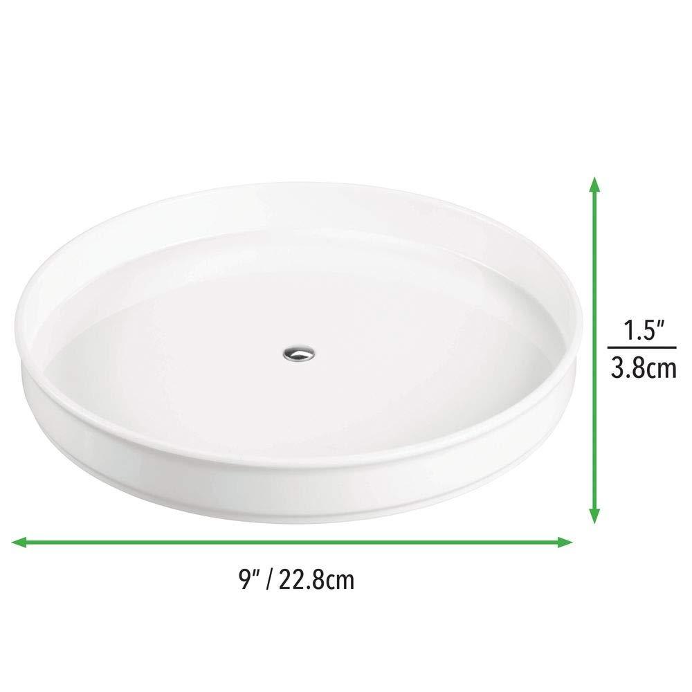 Vassoio porta barattoli ideale per cucina o dispensa bianco Funzionale organizer girevole in plastica per lattine e bottiglie mDesign Lazy Susan Piatto girevole porta spezie