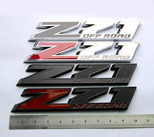 2x GENUINE Black Red Z71 4x4 Emblem for Silverado Sierra Tahoe Suburban Matte