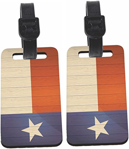 Rikki Knight Texas Flag on Distressed Wood Design Luggage Identifier Tag (1-sided)...