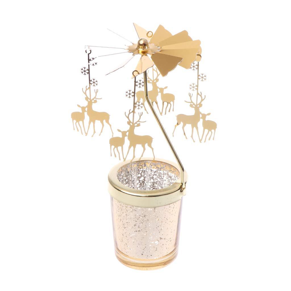 GUOQIAO Carrousel Rotatif pour Bougie Chauffe-Plat dor/é S#