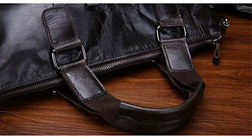JOYIR - Bolso bandolera  Hombre Litchi peel black Size:32L x 42H x 10D inch Litchi peel coffee