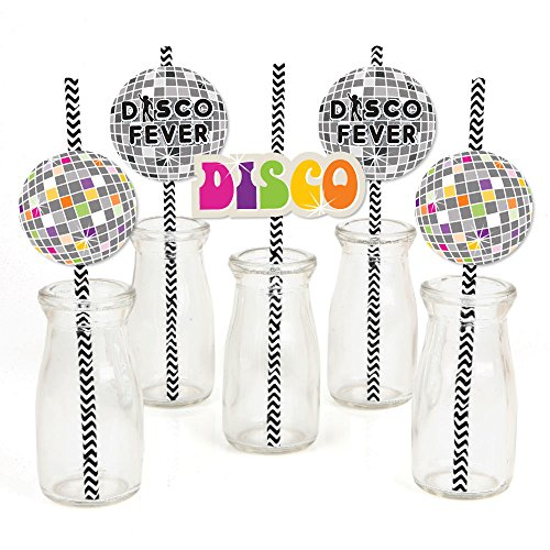 70's Disco - Paper Straw Decor - 1970's Disco Fever Party Striped Decorative Straws - Set of 24 -