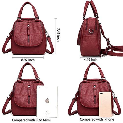 ELIMPAUL 2pcs in One Handbag Backpack Leather Bag Backpack PU Backpack All Red Shoulder Red Soft Multifunction Women qrqfT