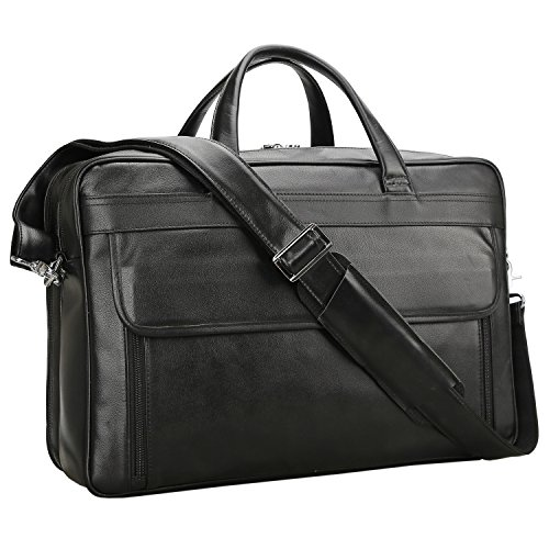 (Polare Men's Real Leather 17'' Briefcase Shoulder Messenger Business Bag)