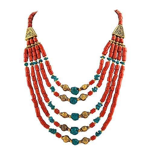 Zephyrr Fashion Multi Strand Beaded Choker Necklace Tibetan Handmade for Women