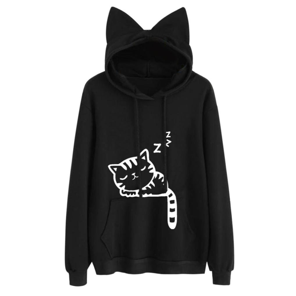 BCDshop Sweatshirt Hooded Womens, Long Sleeve Hoodie Pullover with Cat Ear Tops Blouse (Black+White cat, L)