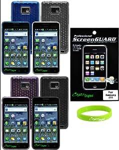 CrazyOn Digital SS_Galaxy_i777_TPU_4pks_Scrn_WR 4 TPU Skin Case Covers  for Samsung Galaxy S II  i777  Brand Package - Combo Pack - Retail Packaging - Black/Blue/Clear/Purple