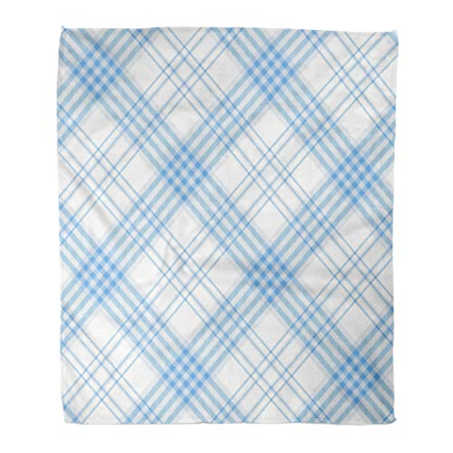 Golee Throw Blanket Gingham Plaid Pattern Checkered in Stripes of Light Azure Blue 50x60 Inches Warm Fuzzy Soft Blanket for Bed Sofa