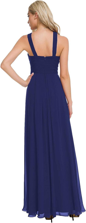 Alicepub Crisscross High-Neck Chiffon Bridesmaid Dress Long Formal Dresses Prom Evening Gown Royal Blue US4