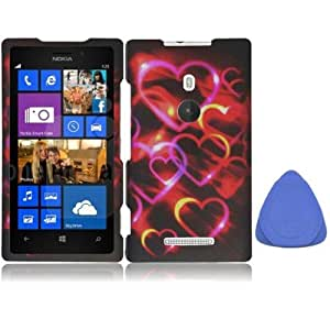 Nokia Lumia 925 Snap On Hard Protector Cover Case - Colorful Hearts + Tool